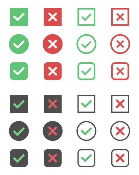 check box icons, tick and cross signs, check mark vector art illustration