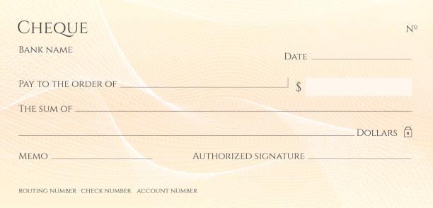 ilustrações, clipart, desenhos animados e ícones de cheque, cheque (modelo de talão de cheques). guilochés - cheque
