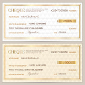 Check (cheque), Chequebook template. Abstract pattern with gold watermark.