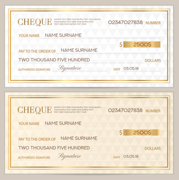Check (cheque), Chequebook template. Abstract pattern with gold watermark. White background for banknote, money design, currency, bank note, Voucher, Gift certificate, Coupon, ticket banking patterns stock illustrations