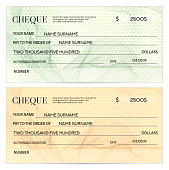 Check (cheque), Chequebook template. Guilloche pattern with watermark, spirograph
