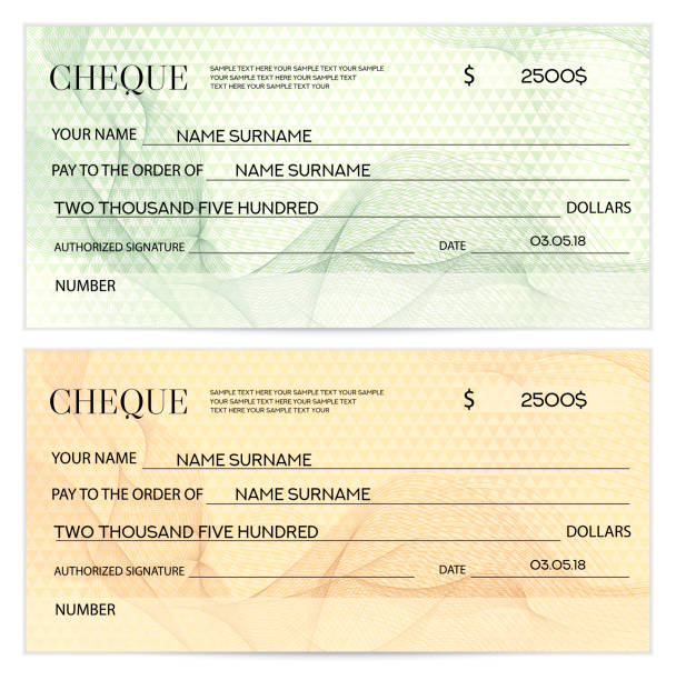 Check (cheque), Chequebook template. Guilloche pattern with watermark, spirograph Background for banknote, money design, currency, bank note, Voucher, Gift certificate, Coupon, ticket banking patterns stock illustrations
