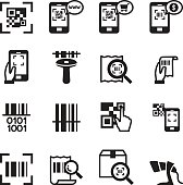 Check code , Barcode, QR code Reader Icons set Vector illustrati