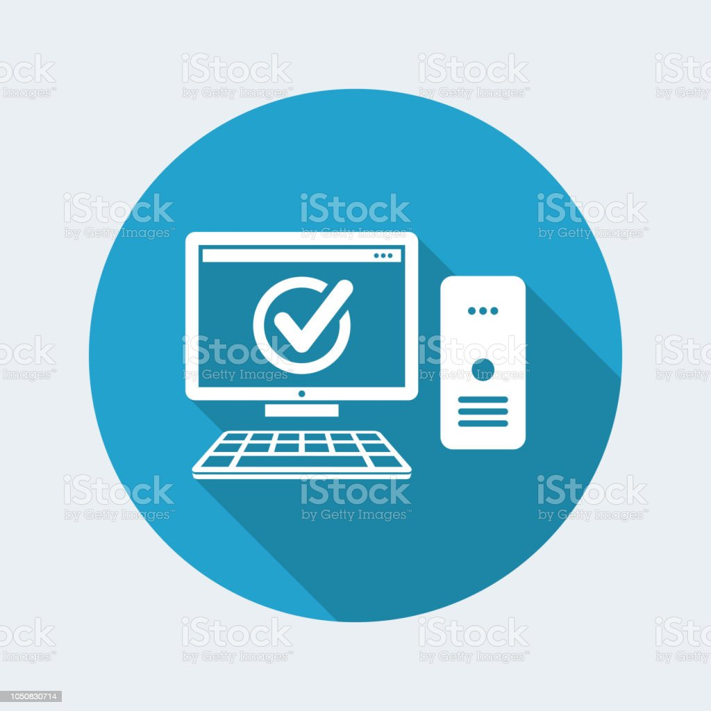 Flat and isolated vector illustration on blue round icon with modern...