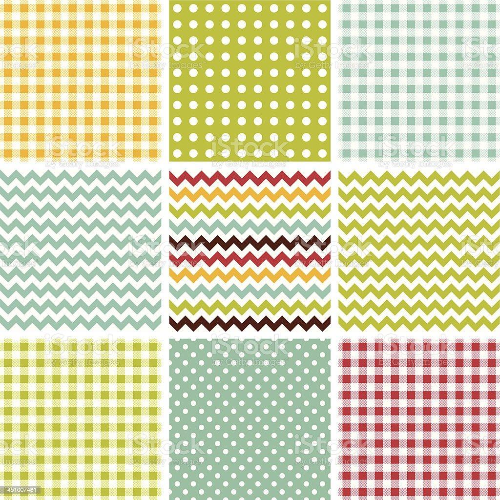 Check, dot, chevron seamless pattern set royalty-free stock vector art