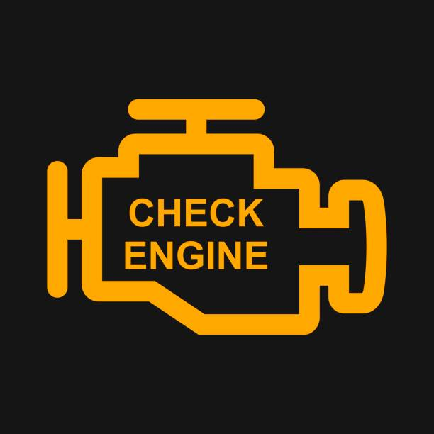 Check engine warning sign isolated in black background. Engine repair vector illustration Check engine warning sign isolated in black background. Engine repair engine stock illustrations