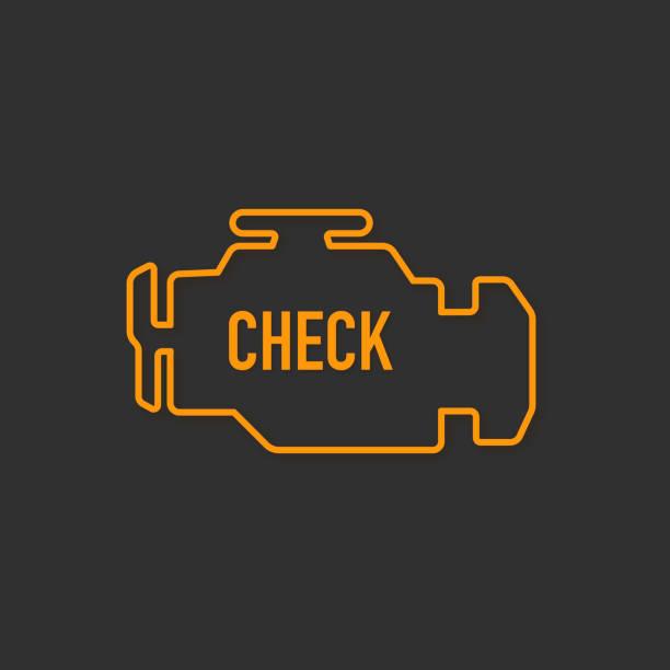 bildbanksillustrationer, clip art samt tecknat material och ikoner med kontrollera motorn, gul glödande ikon isolerad på svart bakgrund. - changing bulb led