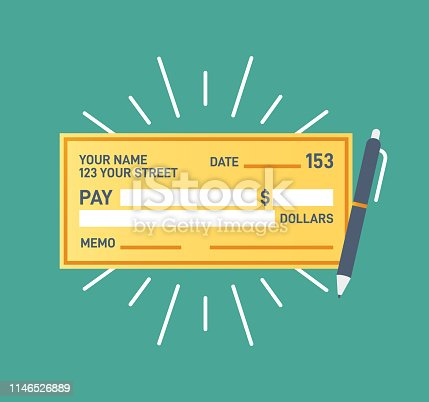 Check financial payment flat design symbol getting paid.