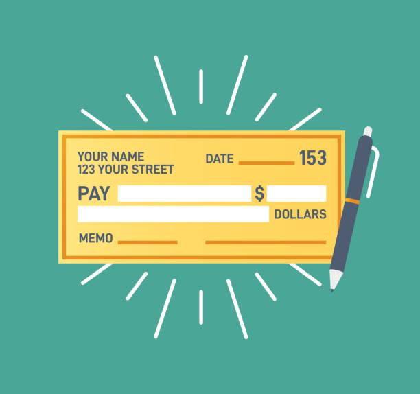 ilustrações, clipart, desenhos animados e ícones de verificar pagamento financeiro - cheque