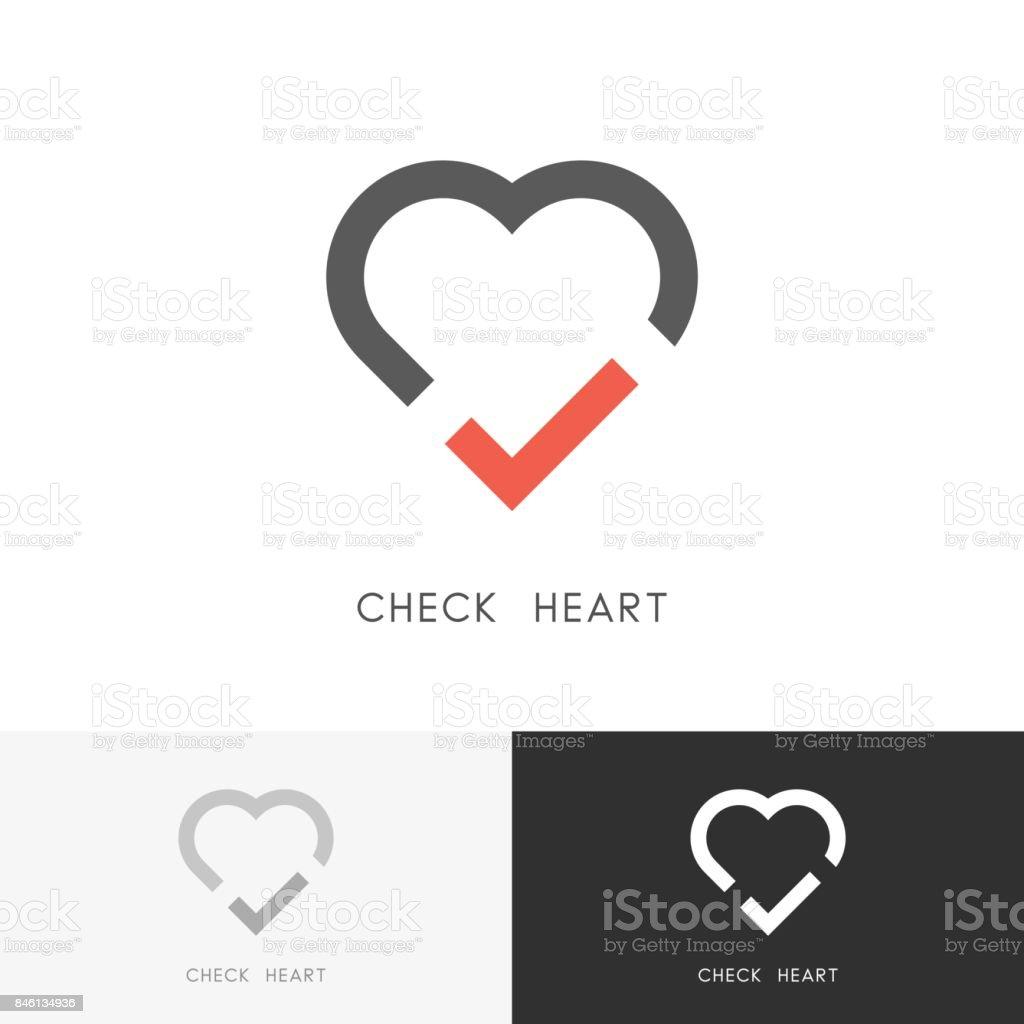 Check heart symbol vector art illustration