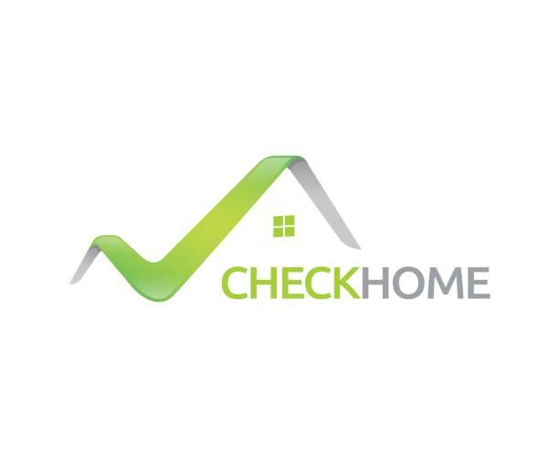 illustrations, cliparts, dessins animés et icônes de vérifiez l'icône maison vector - illustration - logos immobilier