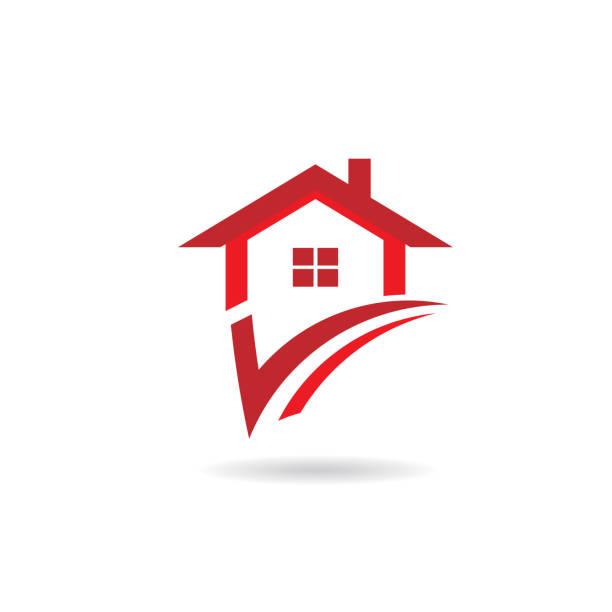 check house logo - real estate logos stock illustrations, clip art, cartoons, & icons