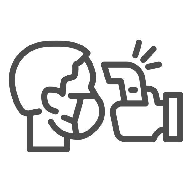 überprüfen sie das symbol der menschlichen körpertemperaturlinie. erkennung virus-übertragungssymbol, umriss stil piktogramm auf weißem hintergrund. verwenden sie kontaktloses infrarot-thermometer covid-19 ausbruch vektorzeichen. - menschliches körperteil stock-grafiken, -clipart, -cartoons und -symbole