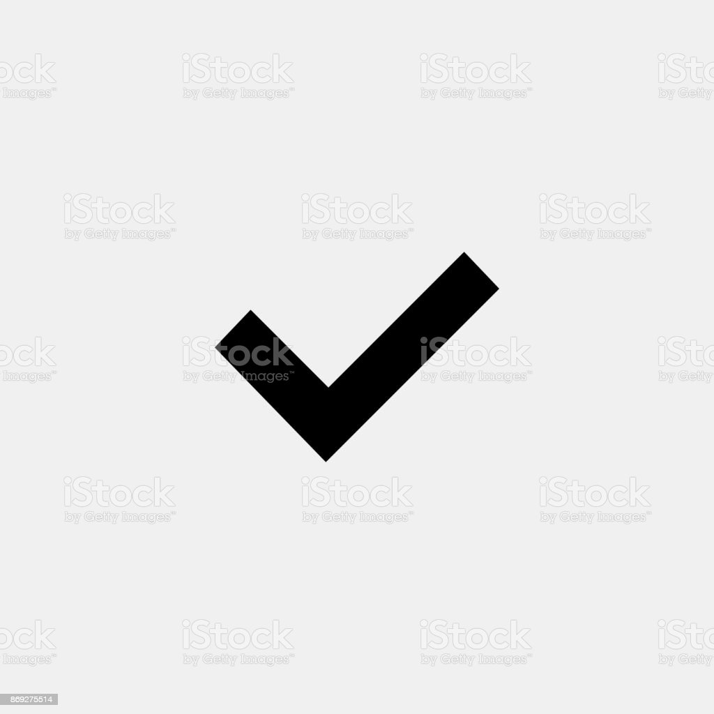 Check icon on grey background. OK sign. Confirmation symbol vector art illustration