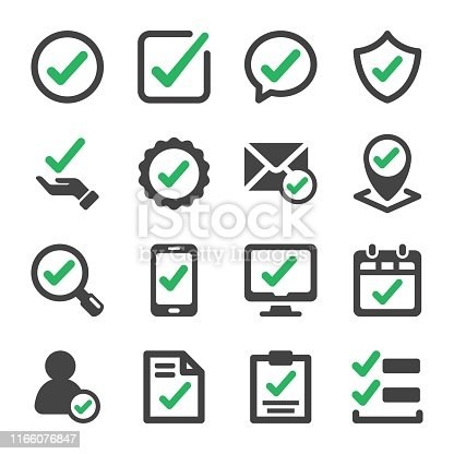 approve and true check icon set,vector and illustration