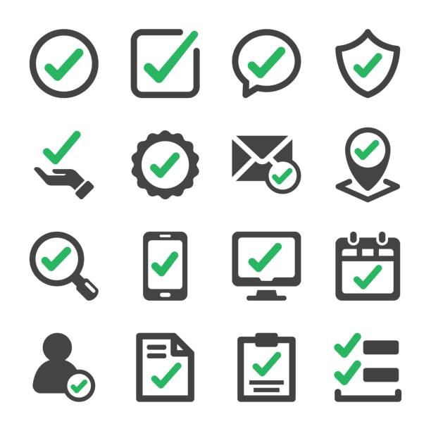 check icon set approve and true check icon set,vector and illustration validation stock illustrations