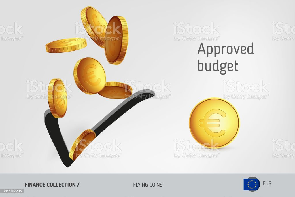 Check icon with flying Euro coins, finance concept. Vector illustration for print, websites, web design, mobile app, infographics.