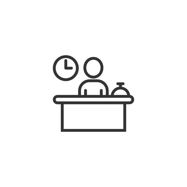 check in reception icon in flat style. booking service vector illustration on white isolated background. hotel reservation business concept. - hotel reception stock illustrations