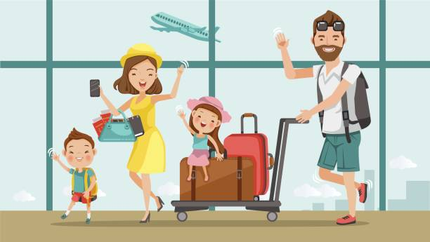 check in - family trips stock illustrations
