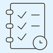 Check list and timer thin line icon. Task management planning and clock. Sport vector design concept, outline style pictogram on white background, use for web and app. Eps 10
