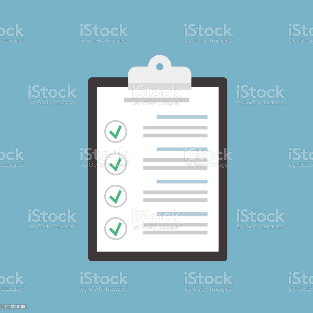 Check list clipboard. Illustration in flat style. Vector illustration