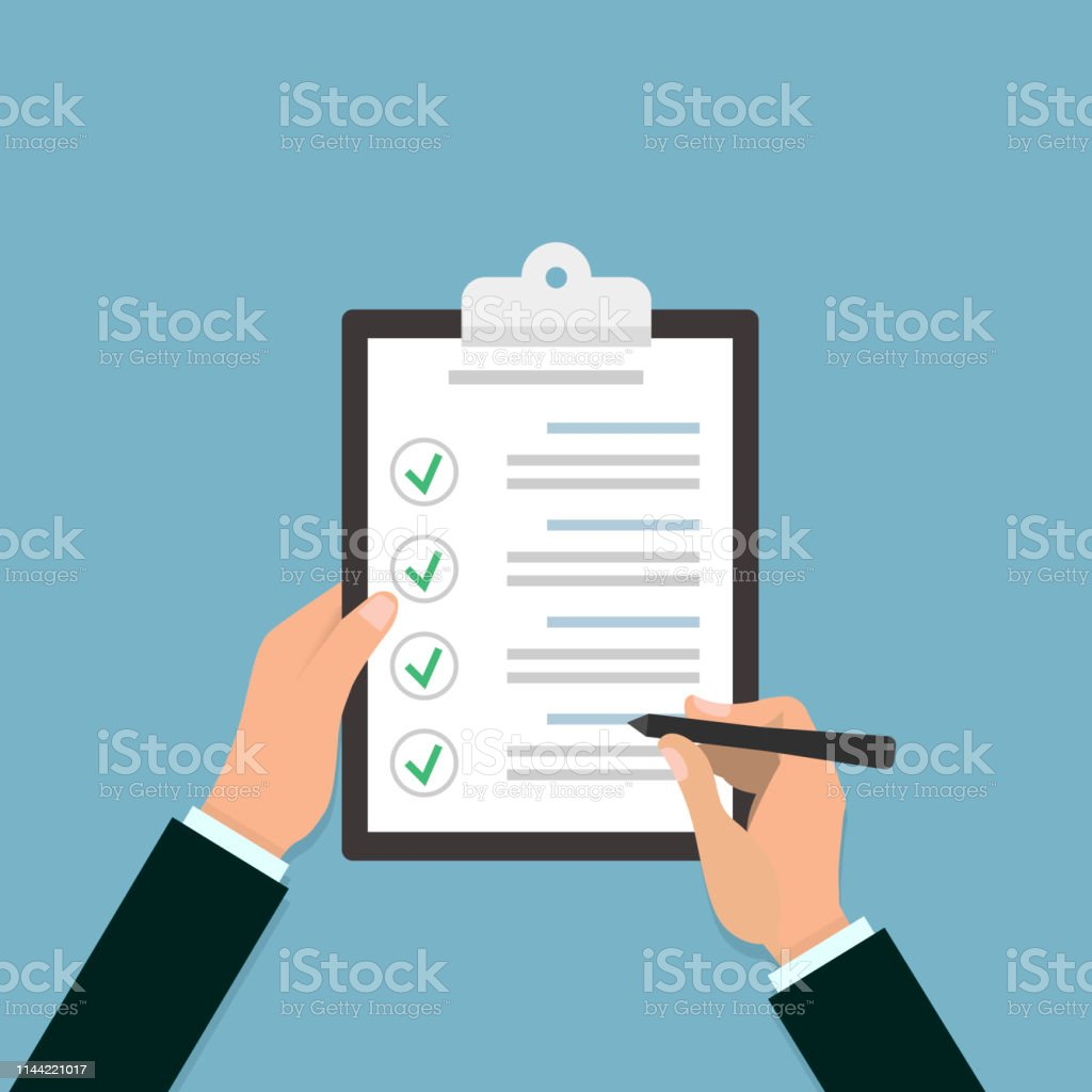 Check list clipboard in hand. Illustration in flat style. Vector...