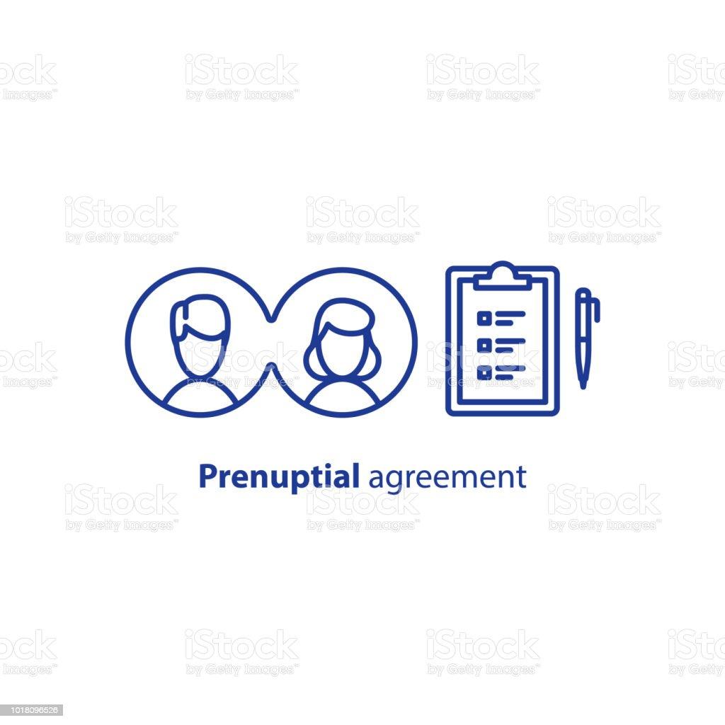 Check List Clipboard Prenuptial Agreement Document Couple Divorce