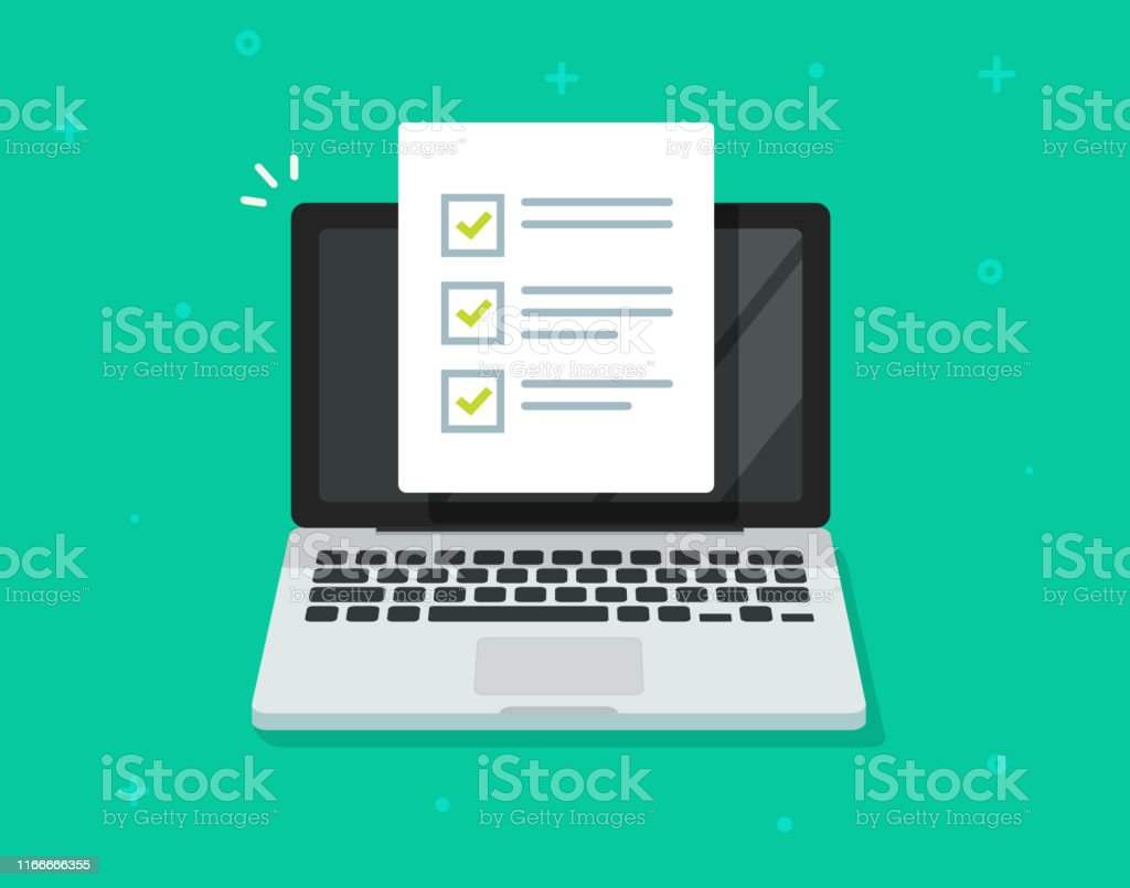 Check list document on laptop vector, flat cartoon computer with paper check list and to do list with checkboxes, concept of survey, online quiz, completed things or done test, feedback - arte vettoriale royalty-free di Accuratezza