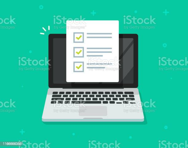 Check List Document On Laptop Vector Flat Cartoon Computer With Paper Check List And To Do List With Checkboxes Concept Of Survey Online Quiz Completed Things Or Done Test Feedback - Immagini vettoriali stock e altre immagini di Accuratezza