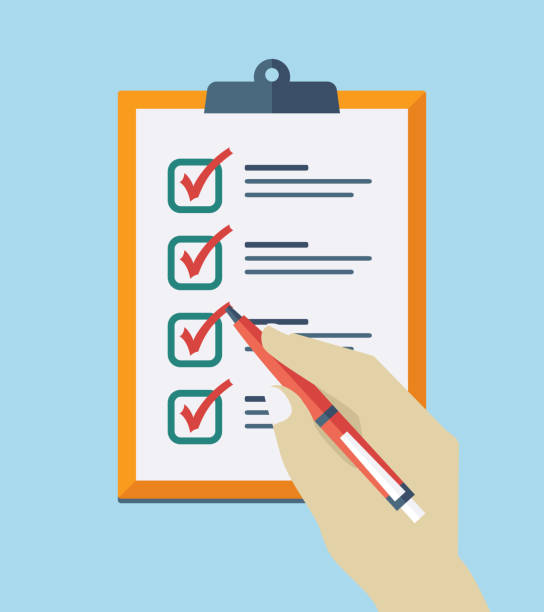 check list flat icon - evaluation stock illustrations