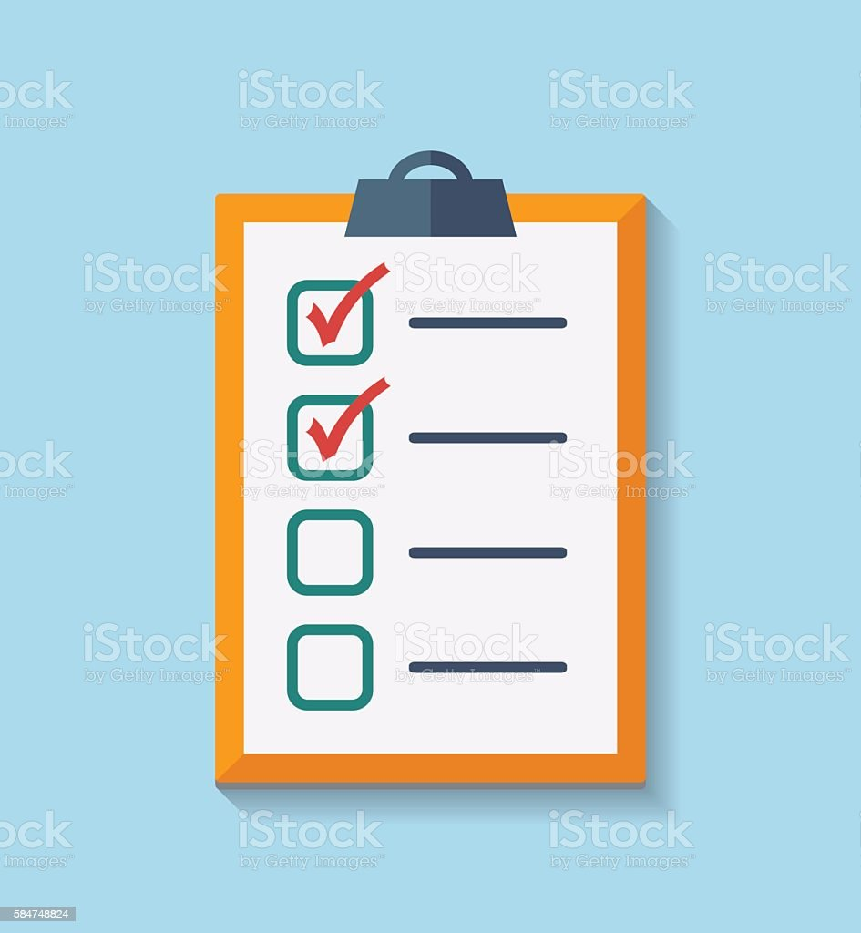 Check List Flat Icon. vector art illustration