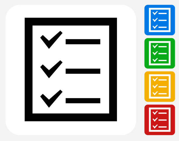 ilustraciones, imágenes clip art, dibujos animados e iconos de stock de lista de verificación de iconos planos de diseño gráfico - tareas domésticas