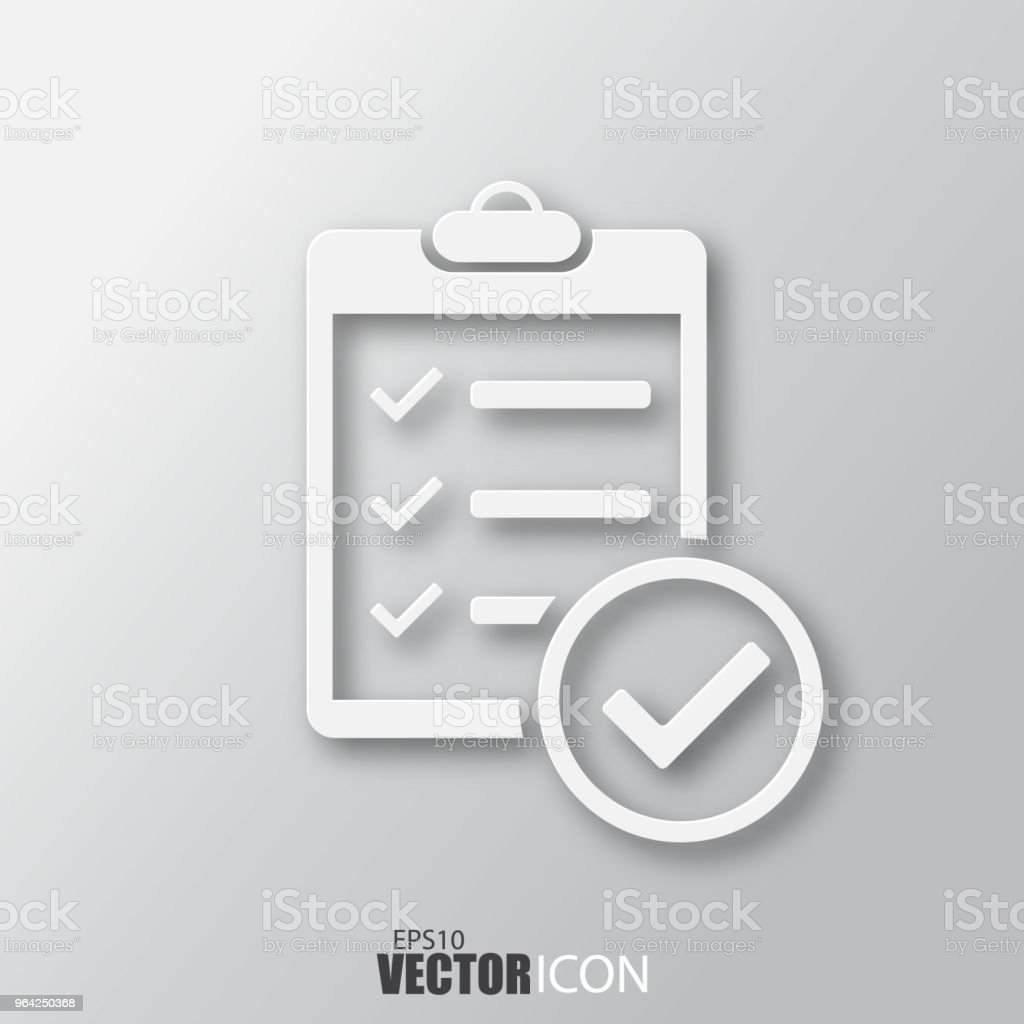 Check list icon in white style with shadow isolated on grey...