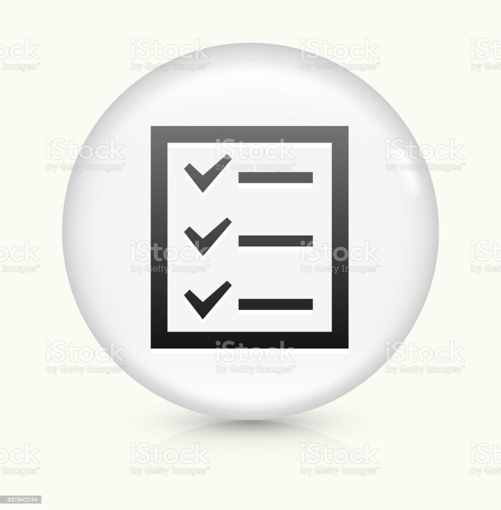 Check List icon on white round vector button vector art illustration