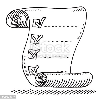 Check List Paper Scroll Drawing Drawing Stock Vector Art