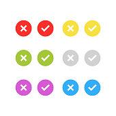 check, list, tick, checkmark icon set isolated vector