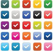 Check mark. 1 credits. Satin icon square button white sign