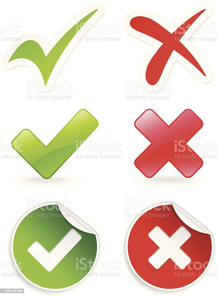 Check Mark and Cross Icon royalty-free stock vector art
