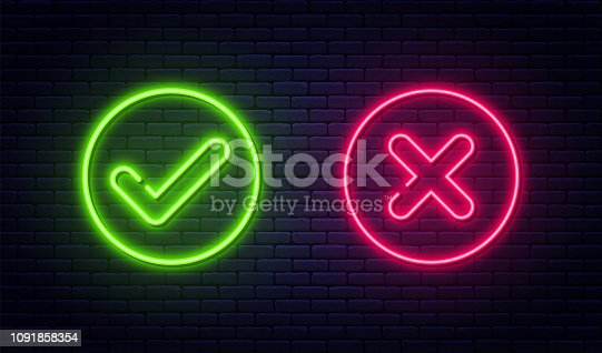 Check mark and cross mark in neon style. Green tick and red cross check marks. Retro signs with glowing neon tubes. Vector