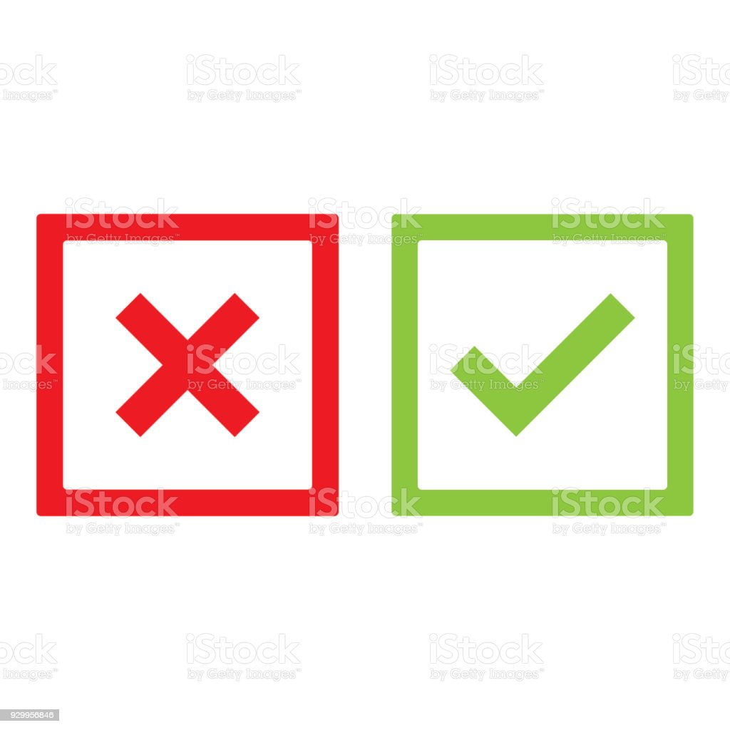 Check Mark And Cross Mark Outline Vector Isolated Vector