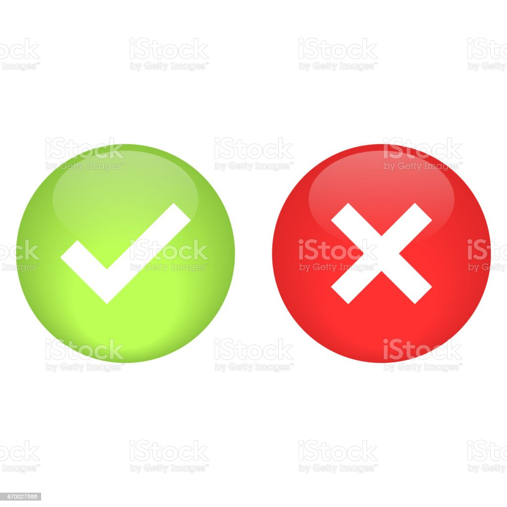 check mark and crossmark glossy button vector vector art illustration