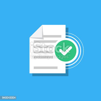 Check mark and document isolated on background. Confirmed document, declaration, summary, report. Checkmark. Vector Illustration in modern flat style