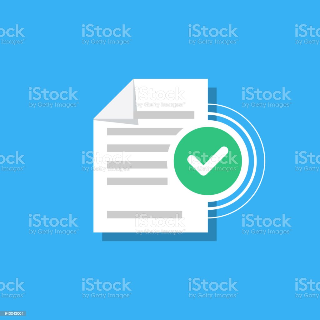 Check mark and document isolated on background. Confirmed document, declaration, summary, report. Checkmark. Vector Illustration in modern flat style. vector art illustration