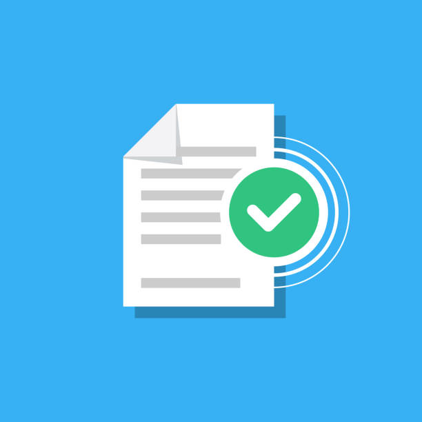 Check mark and document isolated on background. Confirmed document, declaration, summary, report. Checkmark. Vector Illustration in modern flat style. Check mark and document isolated on background. Confirmed document, declaration, summary, report. Checkmark. Vector Illustration in modern flat style form document stock illustrations