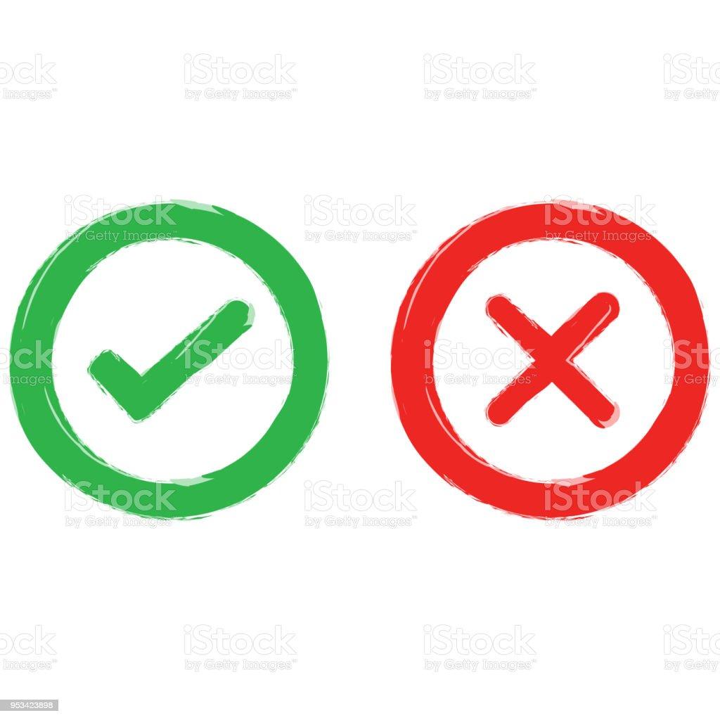 check mark and wrong mark icon texture arte vetorial de stock e