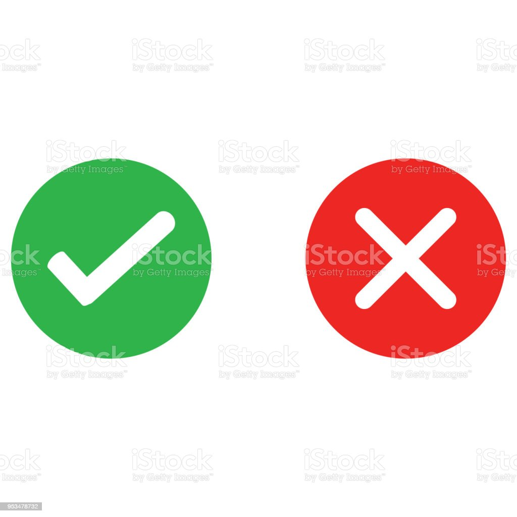 Check mark and wrong mark round icon vector art illustration
