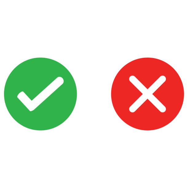 check mark and wrong mark round icon - checked pattern stock illustrations