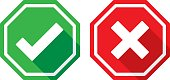 istock Check Mark and X Icons Flat 617587154