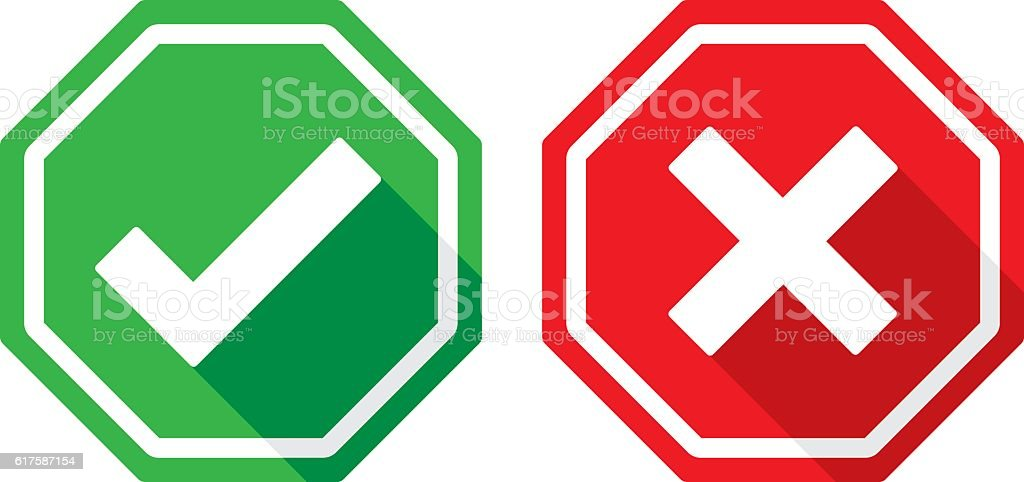 Check Mark and X Icons Flat vector art illustration