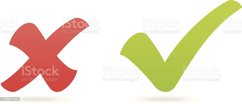 check mark and x vector art illustration